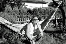 freelancer relaxing in hammock